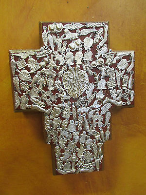 "Special Sacred Heart Milagro Cross #2-NEW-8x10-Mexican Folk Art-Wood-""Miracles"""