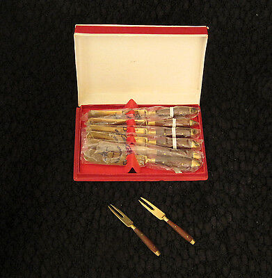Fabulous Vintage Rosewood & Bronze Covered Nickel Spreader Hors d'Oeuvre Set NIB