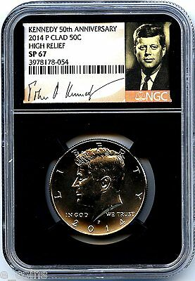 2014 P KENNEDY 50TH ANNIVERSARY NGC SP67 HIGH RELIEF CLAD HALF DOLLAR RETRO