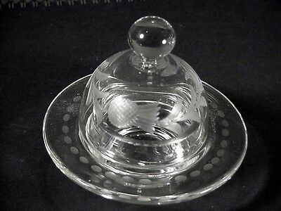 Vintage/AntiqueThistle Engraved Glass Covered Caviar Round  Dish
