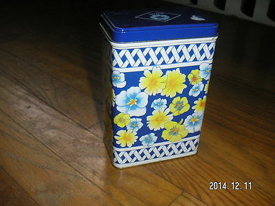 BLUE YELLOW FLORAL TIN CAN BOX EQUAL NutraSweet SUGAR PACKET Holder CANISTER