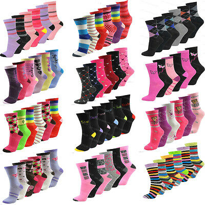 6 Pairs Ladies Womens Girls Coloured Ankle Socks Novelty Design Designer Adults