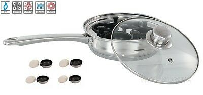 4 Hole Egg Poacher S/steel Glass Lid Removable Cup Xylan Non Stick Induction 925