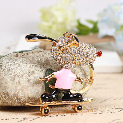 Pink Roller Skates Glasses Dog Pendent Charm Crystal Key Ring Chain Accessories