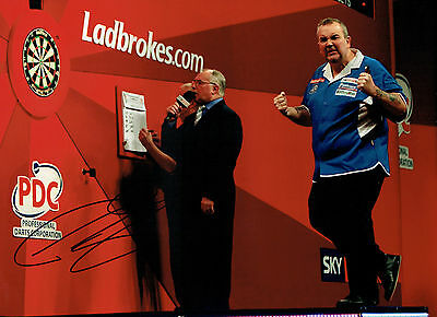 The POWER Phil TAYLOR Signed Autograph Darts 16x12 Action Photo AFTAL COA