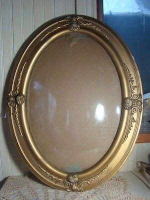 ANTIQUE GOLD BUBBLE GLASS PICTURE FRAME Wood with Gesso