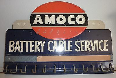 Vintage 1940's Tin AMOCO Battery Cable Service Rack