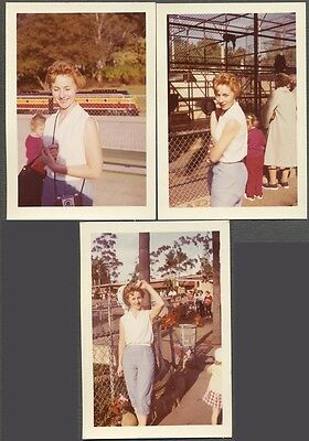 Lot of 3 Vintage Color Photos Pretty Girl w/ Red Hair & Snapshot Camera 542272