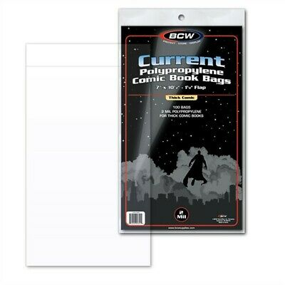 100 BCW Current / Modern Thick Comic Book Poly Bags + Acid Free Backer Boards