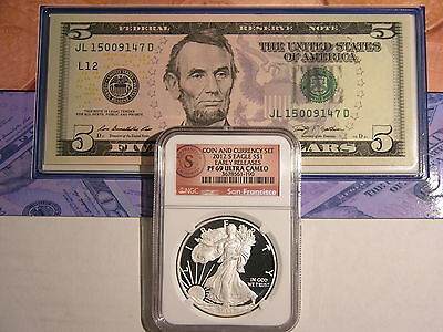 2012S Coin and Currency American Silver Eagle San Fr (S) Seal NGC PF69 & $5 Bill