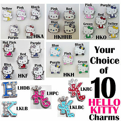 HELLO KITTY 10 SLIDE CHARMS Jewelry Doll Crafts Clothes Hair Pet A