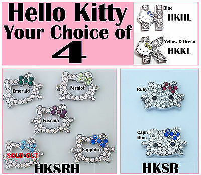 4 RHINESTONE SLIDE CHARMS Crafts Jewelry Doll Clothes Hair Pet HELLO KITTY