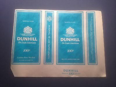 DUNHILL DeLuxe 100's MENTHOL Cigarette 1970's soft pack wrapper * classic brand