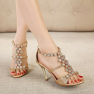 Womens Summer Floral Crystal Ankle Strap High Heels Stiletto Pumps Sandals Shoes