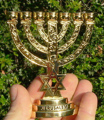 "JERUSALEM TEMPLE MENORAH 4"" Jewish Lamp Candelabra David Star 7 Branch Holy Land"