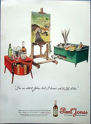 1945 Paul Jones Whiskey Artist Easel Paints Know What I Like ad