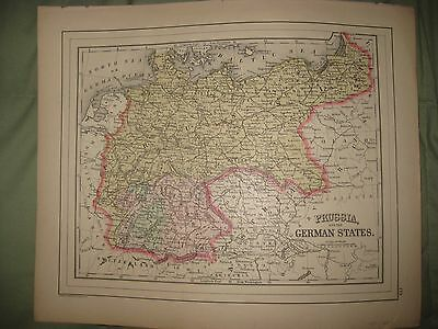 Antique 1887 Prussia Germany Austria Turkey In Europe Italy Greece Mitchell Map