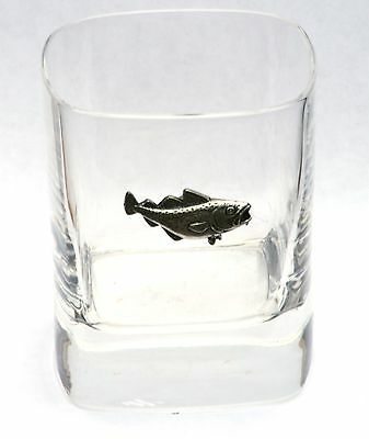 Cod Pewter Motif Pair of Crystal Tumblers Presentation Box Fishing Gift Present