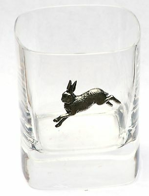 Hare Running Pewter Motif Pair of Crystal Tumblers Presentation Box Hunting Gift