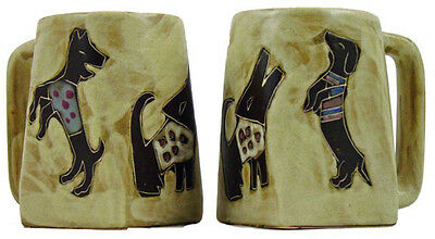 New Set of 6 Mara Dogs Art 12 Oz Ceramic Coffee Mugs Stacking Post Included MX