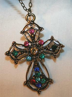 Lacy Brasstone Amber Teal Pink Accent Rhinestone Clusters Cross Pendant Necklace