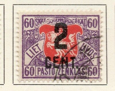 Lithuania 1922 Early Issue Fine Used Surcharged 2c. 123628