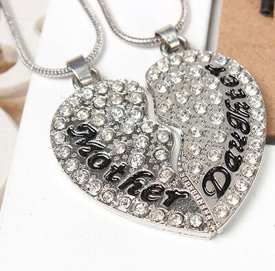 2PCS Mother Daughter Love Heart Fashion Charm Pendant Crystal Necklace Chain Gif