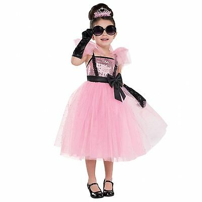 Girls Pink Princess Sequin Tutu Glam Fancy Dress Costume Tiara Gloves Glasses