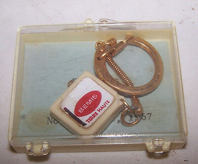 Vintage BEMIS Founders Party Keychain TERRE HAUTE INDIANA