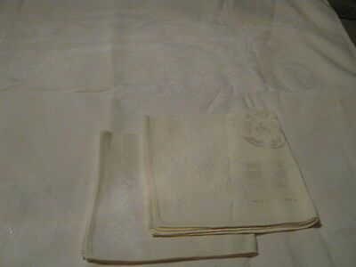 Vintage Pale Yellow Floral Damask Luncheon Tablecloth + 2 Matching Napkins