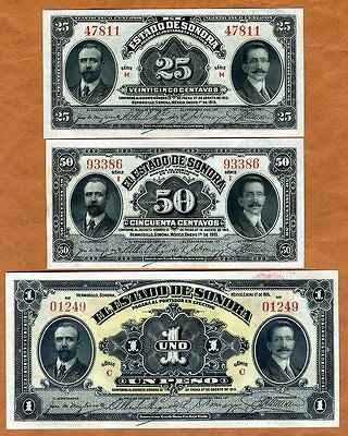 SET Mexico, Revolution, 25;50;1 1915, P-S1069-S1070-S1071 Sonora, UNC