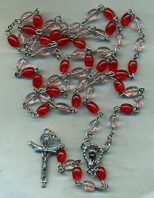 Rosary-  Oval Pink/Red  Glass Beads-Trinity Cross