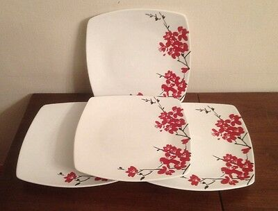 """STOREHOUSE Floral Pattern Asian Set Of 4 DINNER PLATES 10"""" Square Design"""
