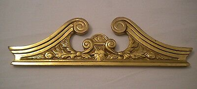Vtg Solid Polished Brass Architectural Pediment Scroll Top Leaves Hand Crafted