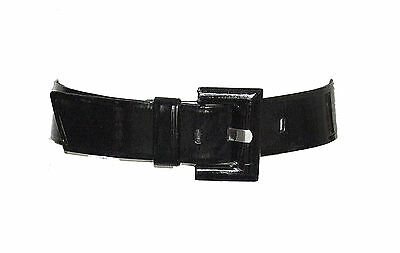 *Betsey Johnson* black shinny 2 inch wide sexy art deco buckle formal belt M