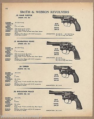 1970 SMITH & WESSON S&W Model 30, 31 Police, 32 Terrier, 33 REVOLVER AD w/ specs