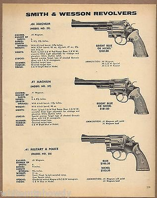 1971 SMITH & WESSON Model 29 & 57 .44 Magnum, 59 Military & Police REVOLVER AD