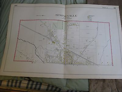 Antique 1909 Springville Wales East Elma Bowmansville Erie County New York Map N