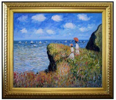 Framed, Monet The Cliff Walk, Pourville Repro, Hand Painted Oil Painting 20x24in