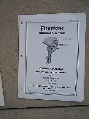 FIRESTONE SCOTT-ATWATER OUTBOARD MOTOR OWNERS PART MANUAL~7.5-OR12 HP~1960-61