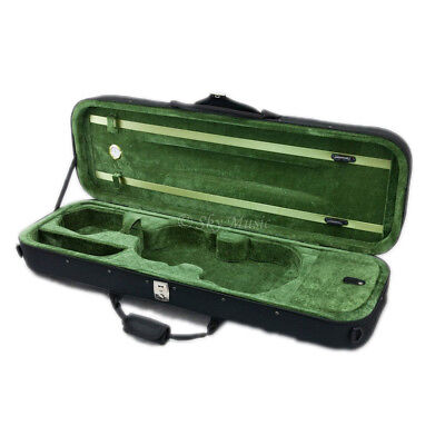 Deluxe Quality 4/4 Size Acoustic Violin Fiddle Case Black and Khaki w/ Strap NEW
