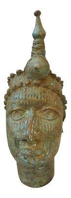 "Superb Benin Bronze Brass Head of Oba Nigeria African 7.5"" H"