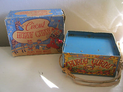 MUSIC BOX TINKLE TONK HURDY GURDY TIN CANNISTER WIND THE HANDLE FOR TUNE