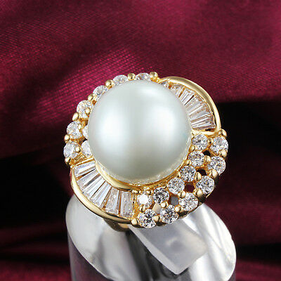 Luxury 18K Gold White Gold Big Pearl Rings Crystal Wedding Jewelry Women Gift