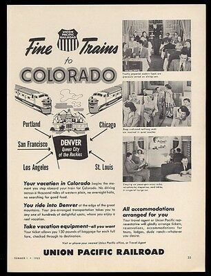 1953 Union Pacific Railroad train to Denver Colorado 3 photo vintage print ad