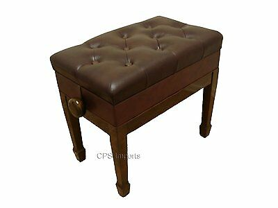 GENUINE LEATHER Walnut Adjustable Piano Bench/Stool/Chair