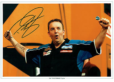Phil TAYLOR THE POWER Signed Autograph Champion Darts 16x12 Photo AFTAL COA NEW