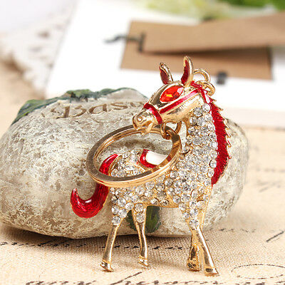 Adorable Red Horse Cute New Rhinestone Crystal Pendent Charm Key Ring Chain Gift