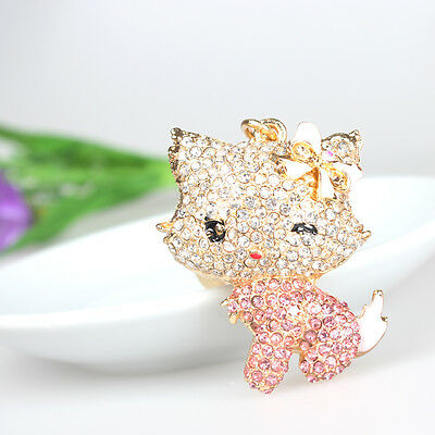Lovely Cat Pink Bowknot Pendant Charm Chain Crystal Purse Bag Key Ring Fine Gift