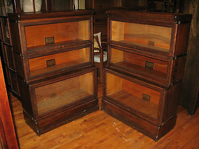 PAIR of Globe Wernicke Co Mission Oak Stack 3 Sectional Bookcase Barristers
